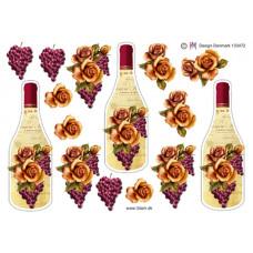 Flaske/Glas - Vinflaske med druer og rose