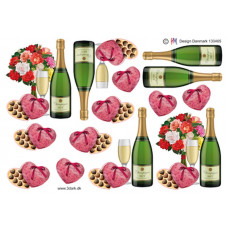 Flasker/Glas - Champagne med glas og blomster