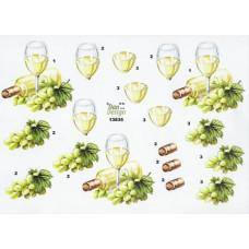 Flasker/Glas- Hvidvin - Druer  - Glas - Flaske